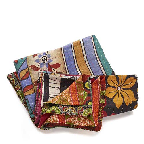 Twin-Size Kantha Bedcover