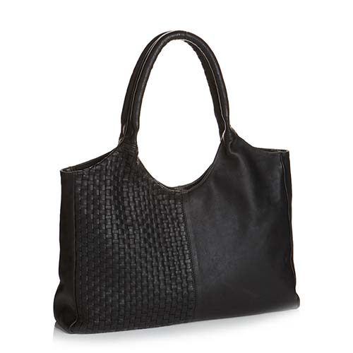Essential Woven Black Leather Bag