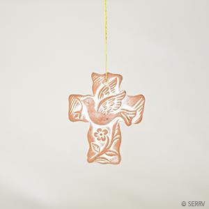 Terracotta Cross Ornament