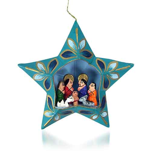 Teal Star Nativity Ornament