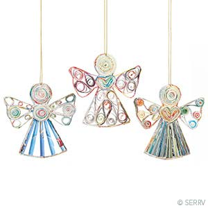 Quilled Angels Ornaments - Set of 3