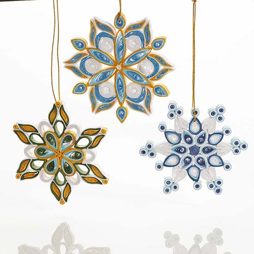Quilled Snowflake Ornaments - Set of 3