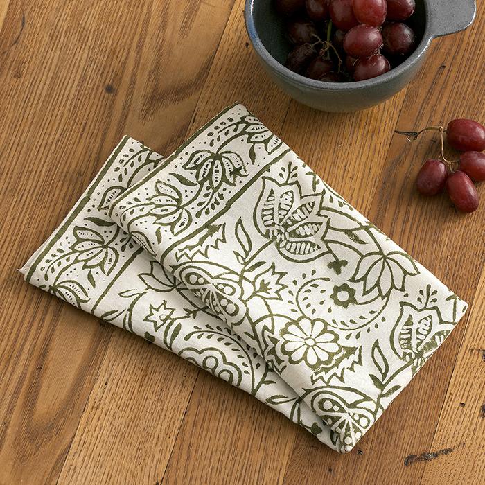Olive Wildflower Napkins - Set of 2
