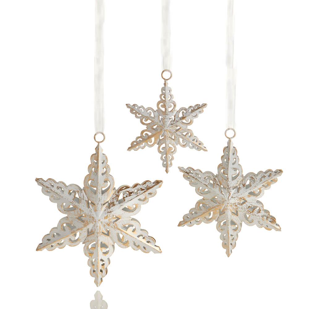 Antique White Snowflake Ornaments - Set of 3