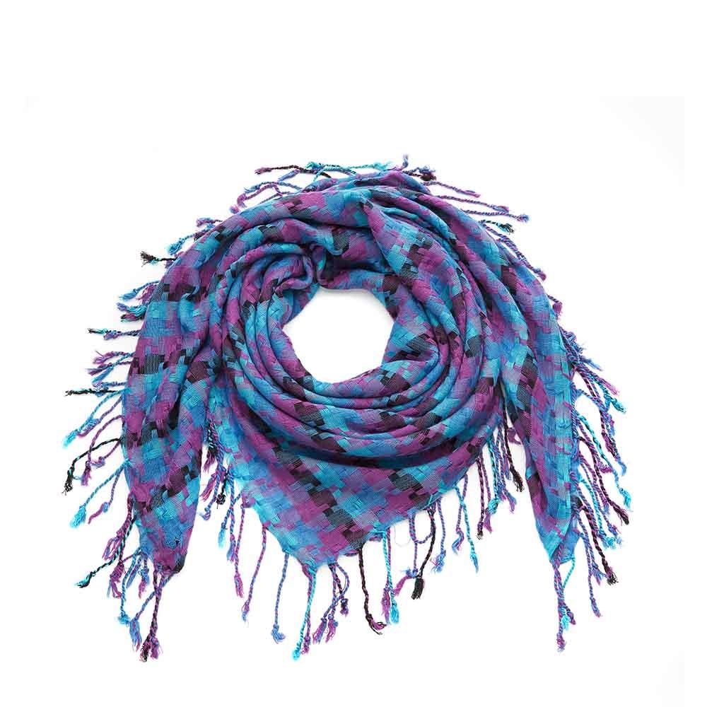 Blue Mix Square Ribbon Scarf