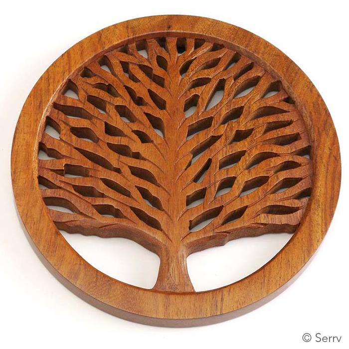 tree of life shesham trivet trivets coasters serrv international. Black Bedroom Furniture Sets. Home Design Ideas