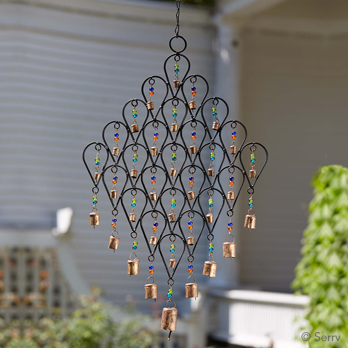 Iron Bells And Beads Wall Hanging Wind Chime Window Decor