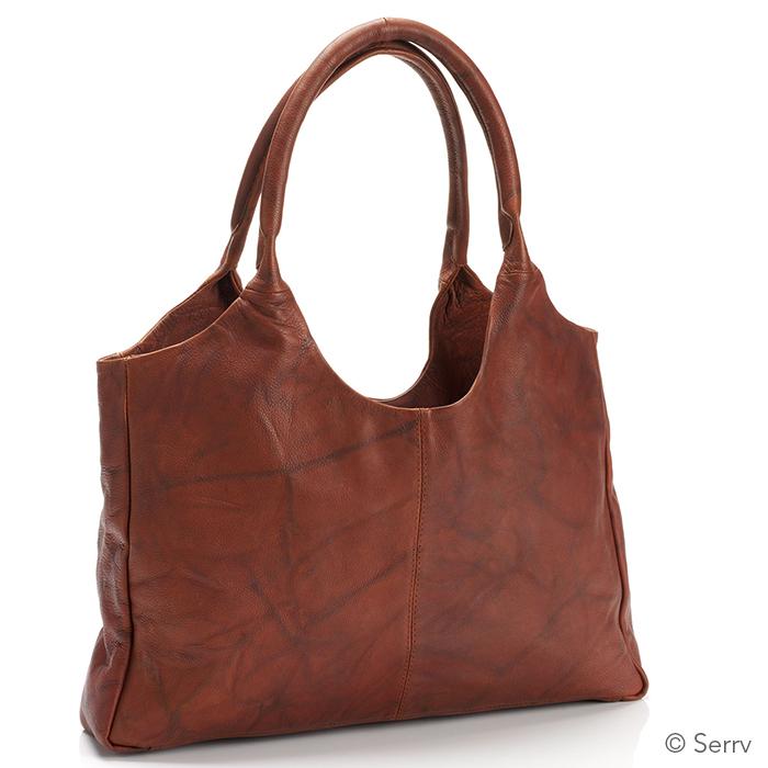Mottled Antique Brown Leather Bag