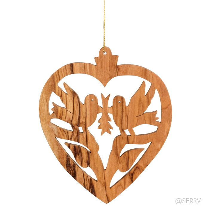 Holiday - Olive Wood Heart Ornament