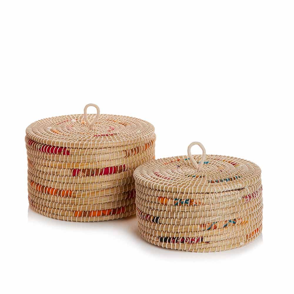 Small and Medium Chindi Stripe Baskets (XL) - Set of 2