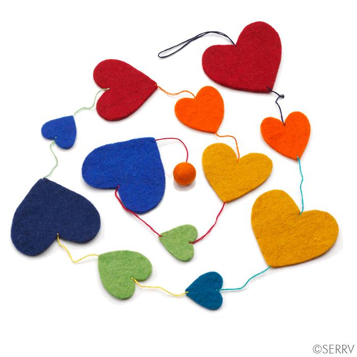 Rainbow Heart Garland