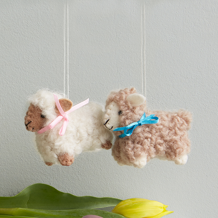Woolly Lamb Ornaments - Set of 2