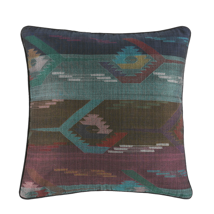 Dhaka Weave Wide Stripe Square Accent Pillow