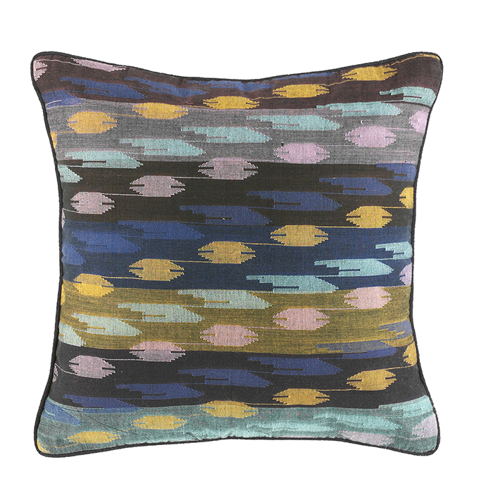Dhaka Weave Stepped Stripe Square Accent Pillow