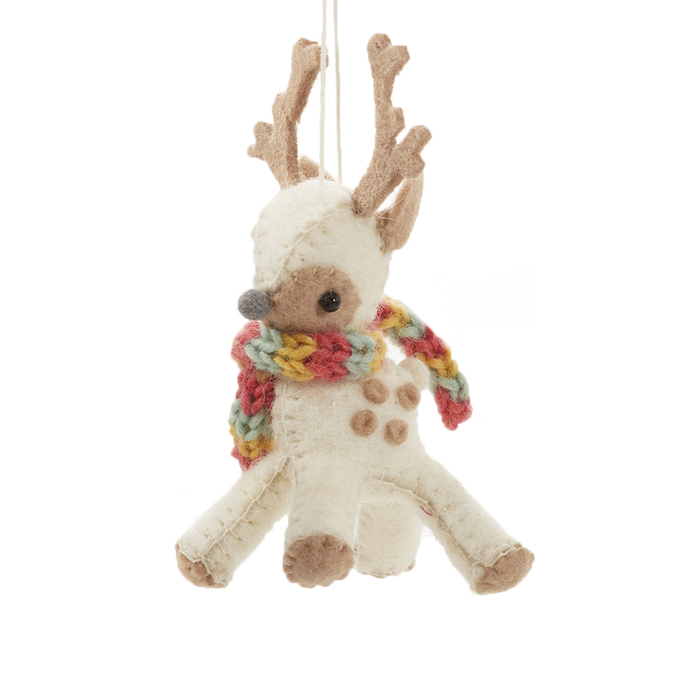 Cream Reindeer Ornament