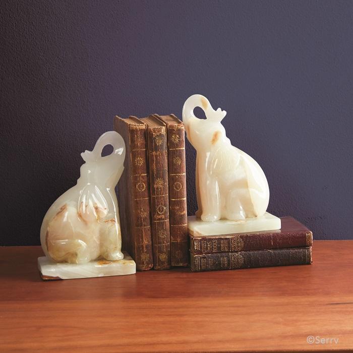 Onyx Elephant Bookends