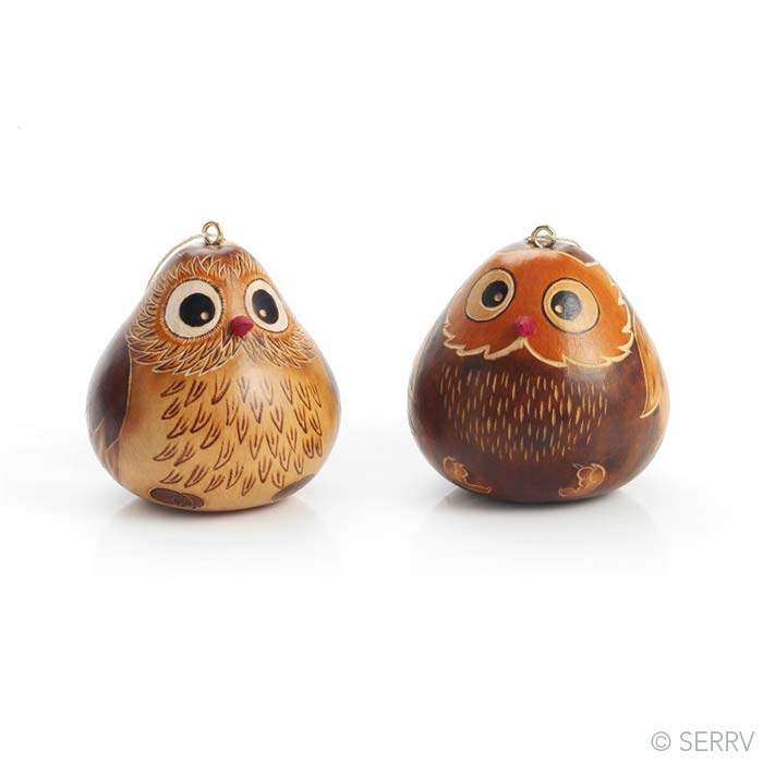 Owl Gourd Ornaments - Set of 2