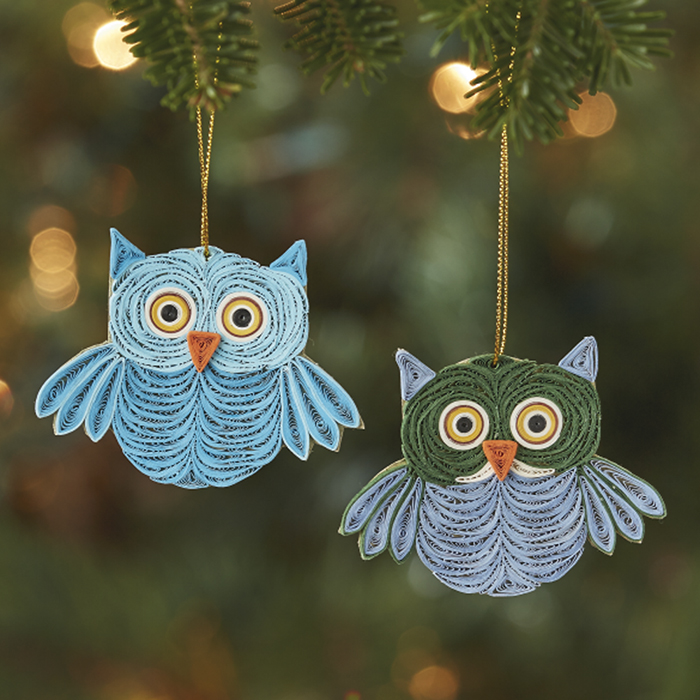 Quilled Owl Ornaments - Set of 2