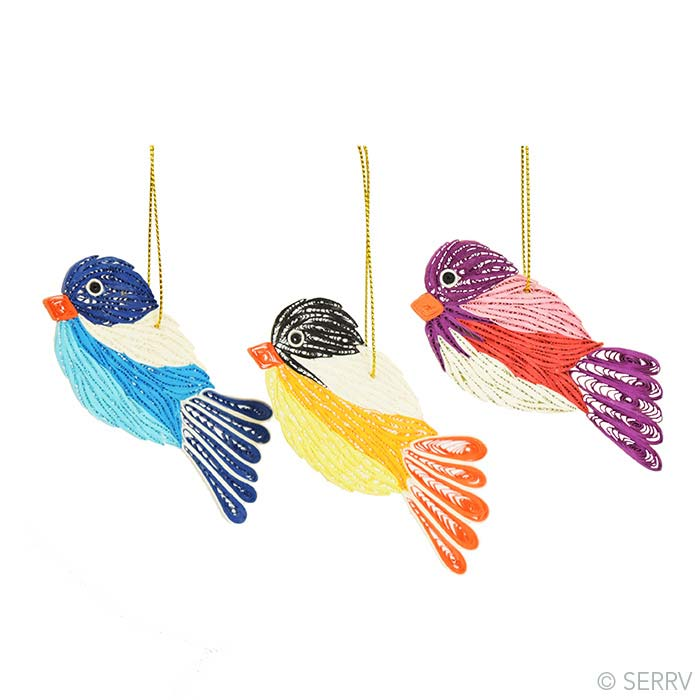 Quilled Birds Ornaments - Set of 3