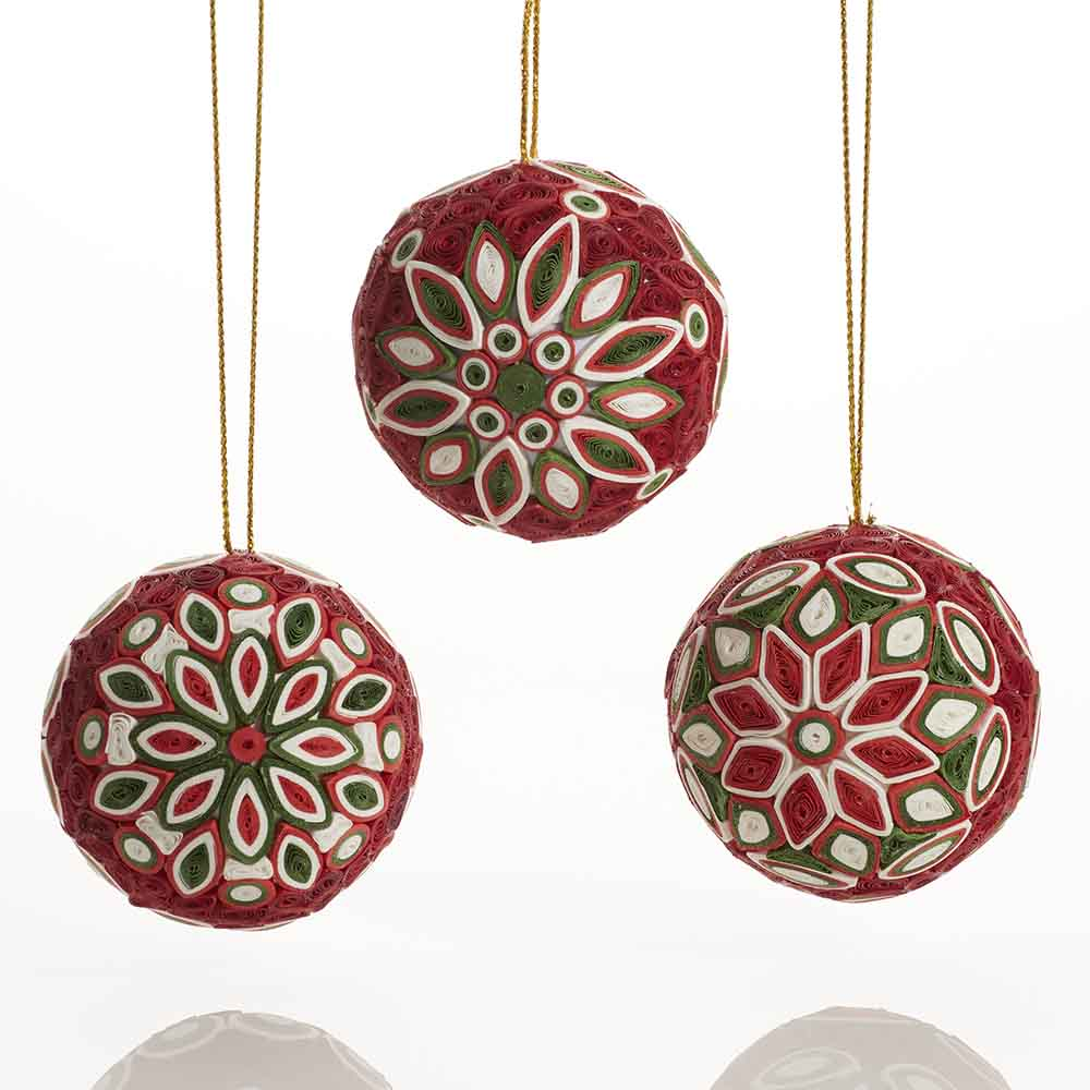 Quilled Christmas Ball Ornaments - Set of 3