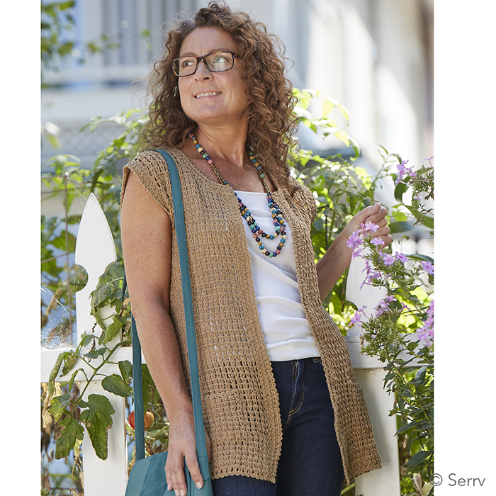 5e4f41ff5 Long Crocheted Cardigan - Tan. Tap to expand