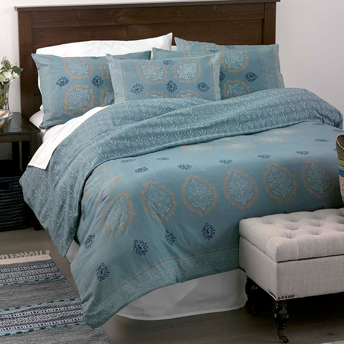 Block Print Mandala Bedding Slate, Slate Blue And Gray Bedding
