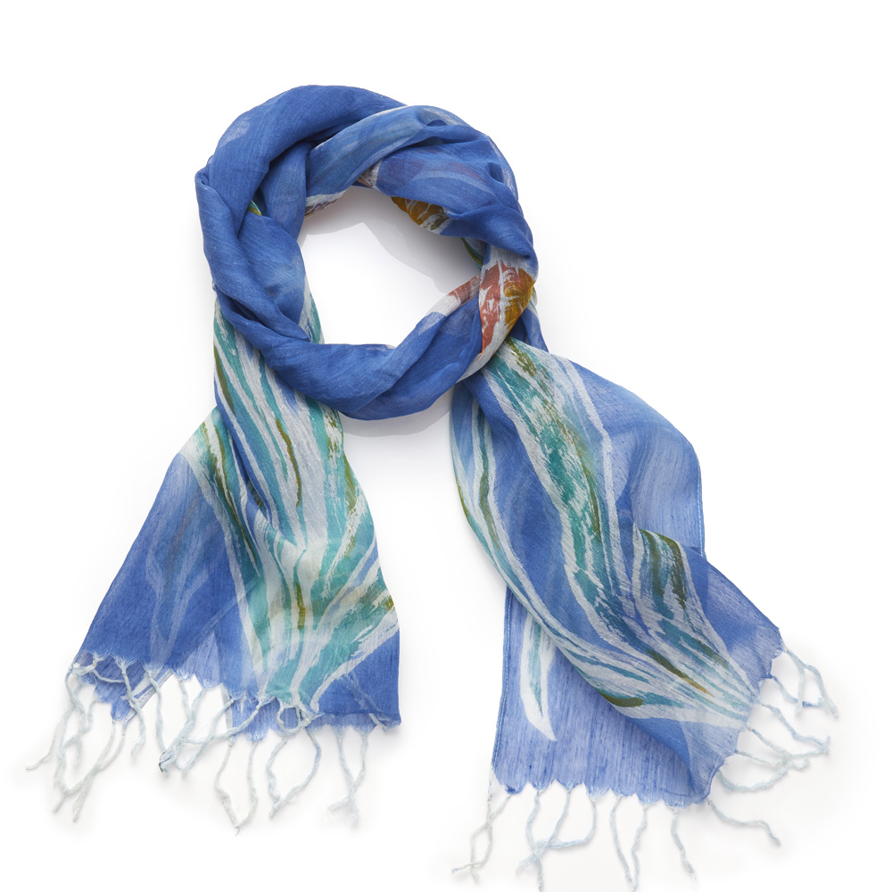 Lapis Painted Floral Scarf