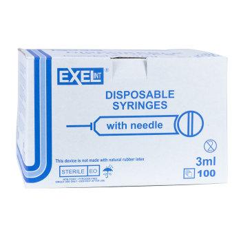 SYRINGE,3CC 22GX1 1/4, LL, 100/BX, EXEL