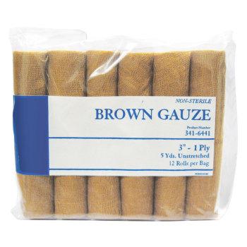 "GAUZE,BROWN,3"" X 5YDS 12/BG"