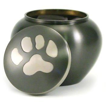 Urn,Slate/Pewter single paw Odyssey sm urn
