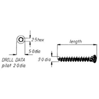 Screw, cancellous, 3mm, 12mm length