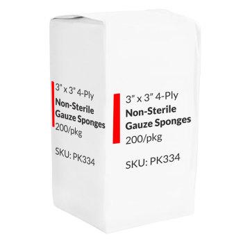 GAUZE,3X3 4-PLY,NON-WOVEN,200/PKG