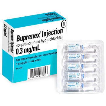 RX CIII (3) BUPRENORPHINE(BUPRENEX)  HCL 0.3MG/ML, 5X1ML AMPULE/BOX