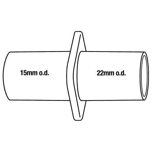 Anesthesia, dual fitting, 22mm x 15mm OD 2 pk