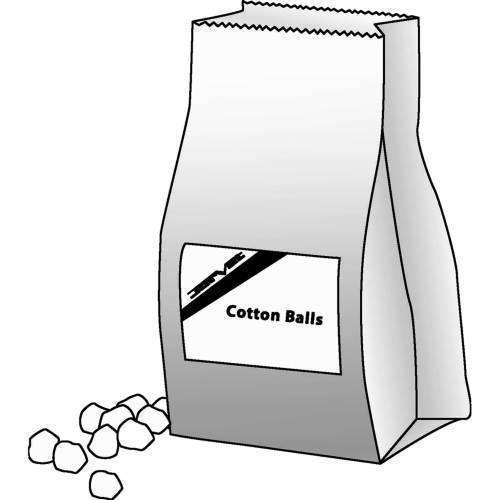 Cotton, absorbent balls