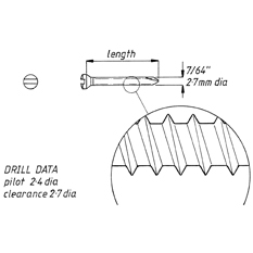 Screw, self tapping, 2.7mm x 34mm, 6pk