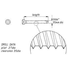 Screw, self tap, 3.5mm x44mm,6pk,cruciate