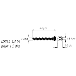 Screw, cancellous, 2.2mm screw, 18mm length