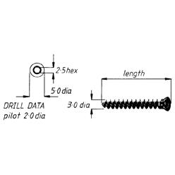 Screw, cancellous, 3mm, 28mm length