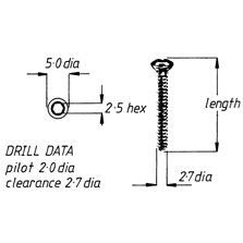 Screw, cortical, self-tapping, 2.7mm x 28mm