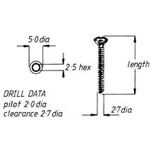 Screw, sortical, 2.7mm x 34mm, 6pk