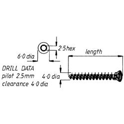 Screw, cancellous, fully threaded, 4.0 22mm,6pk