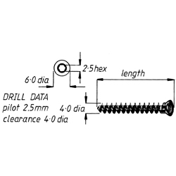 Screw, cancellous, fully threaded, 4.0 40mm,6pk