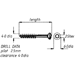 Screw, lag cancellous, 4mm x20mm, each