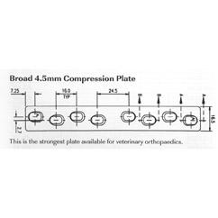 Plate, broad compression, 4.5mm 199mmL
