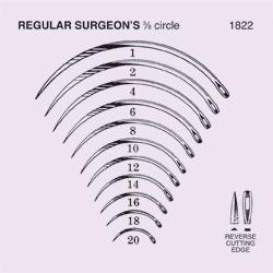 NEEDLES,SUTURE,STRL,REG SURGEON'S 3/8 CIRCLE REV CUTTING EDGE,SZ 10,40/BX