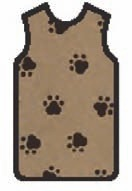 APRON, X-RAY, W/QUICK RELEASE, LARGE, BROWN W/BLACK PAWS