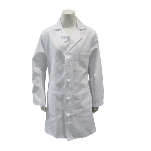 LAB COAT, WHITE, MED LENGTH, COTTON, CLOTH BUTTONS, SIZE 46