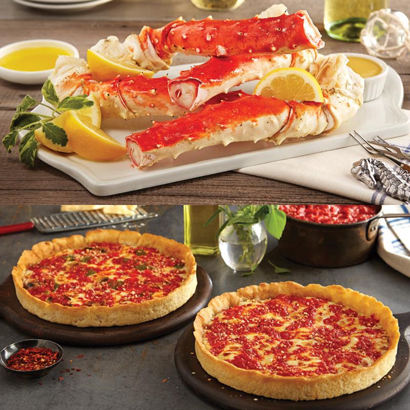 Bob Chinn's Alaskan King Crab Legs Kit & 2 Lou's Pizzas