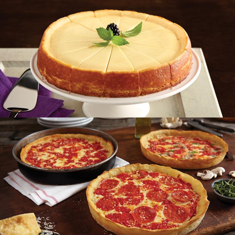 1 Eli's Plain Cheesecake & 3 Lou's Pizzas